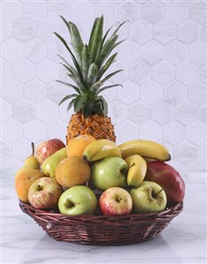 Fruit basket filled with seasonal fruit