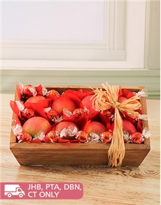 Sympathy - Hampers and Gifts: Wooden Box of Red Apples and Lindt Balls!