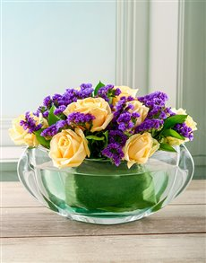 Rosh Hashanah - Rosh Hashanah: Luxurious Flowers in Crystal Bowl!
