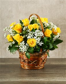 Rosh Hashanah - Rosh Hashanah: Woven Basket of Yellow Roses!