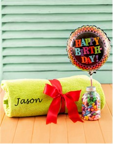 Congratulations - Hampers and Gifts: Personalised Green Towel with Birthday Balloon!