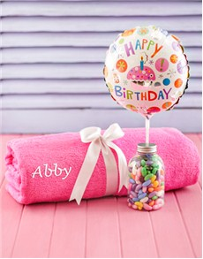 Congratulations - Hampers and Gifts: Personalised Pink Towel with Birthday Balloon!