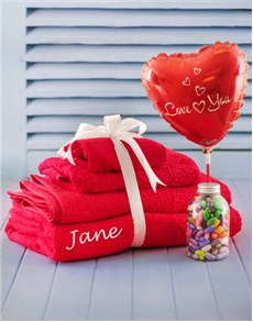 Love and Romance - Hampers and Gifts: Personalised Red Towel Set!