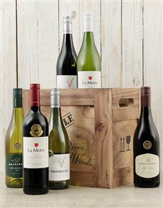 Congratulations - Hampers and Gifts: Wooden Crate of Red Wine!