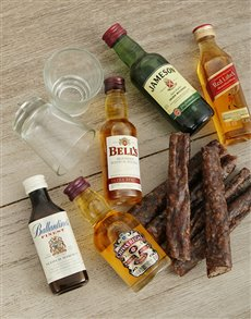 Gifts and Hampers: Assorted Mini Whiskey Bottles with Biltong!