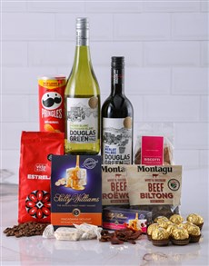 Gift Box of Wine Biltong and Chocolates