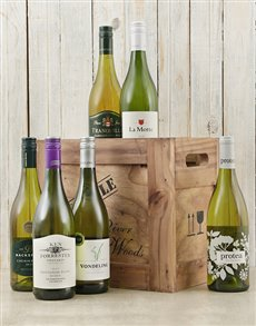 Congratulations - Hampers and Gifts: Six Bottles Of White Wine in a Crate!