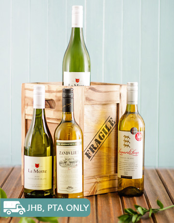 Congratulations - Hampers and Gifts: Four Bottles Of White Wine in a Crate!