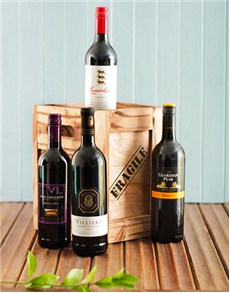 Engagement - Hampers and Gifts: Four Bottles Of Red Wine in a Crate!