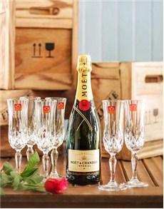 Congratulations - Hampers and Gifts: Moet & Chandon Rose with Champagne Glasses Gift!