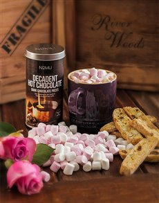 Get Well - Hampers and Gifts: Le Creuset Mug with Hot Chocolate and Marshmallows!