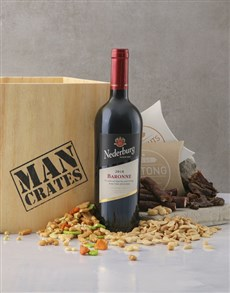 Red Wine, Biltong & Nuts in a Man Crate
