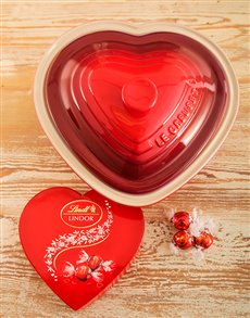Love and Romance - Hampers and Gifts: Le Creuset Heart Casserole Dish & Lindt!