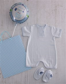 for Baby - Hampers and Gifts: Baby Boy Baby Grow and Booties Set!