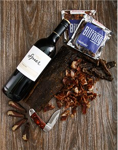 Gifts and Hampers: Spier Merlot and Biltong Knife Hamper!