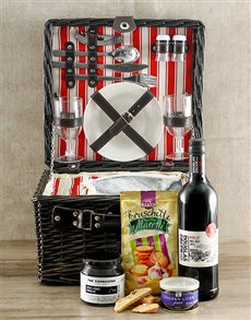 Gifts and Hampers: Merlot and Tasty Bruscette Picnic Basket!