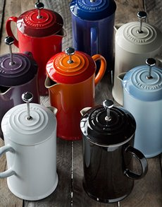 Gifts and Hampers: Le Creuset Coffee Pot with Metal Press!