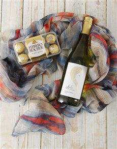 Gifts and Hampers: Wine and Dine Scarf Hamper!