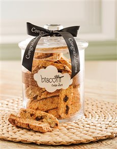 Congratulations - Hampers and Gifts: Congratulations  Candy Jar with Biscotti!