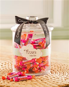 Congratulations - Hampers and Gifts: Congratulations Candy Jar with Fizzers!