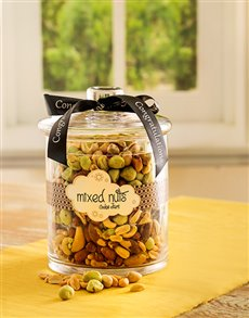 Congratulations - Hampers and Gifts: Congratulations Candy Jar of Mixed Nuts!