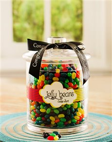 Congratulations - Hampers and Gifts: Congratulations Jelly Bean Candy Jar!