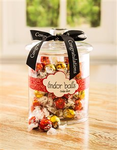 Congratulations - Hampers and Gifts: Congratulations Lindt Chocolate Ball Candy Jar!