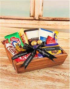 Congratulations - Hampers and Gifts: Small Wooden Crate with Chocolates!