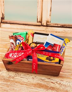 Love and Romance - Hampers and Gifts: Small Wooden Crate with Chocolates!