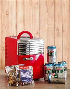 Red Desk Fridge with Castle Lite and Snacks